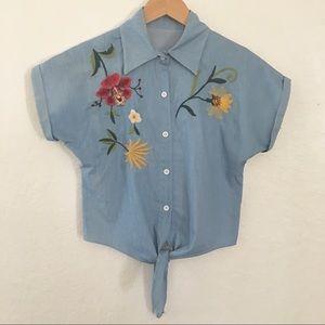 Retro Embroidered button down tie waist vintage